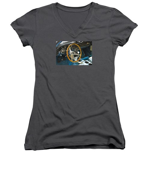 Ford Mustang Shelby Women's V-Neck T-Shirt (Junior Cut) by Pamela Walrath