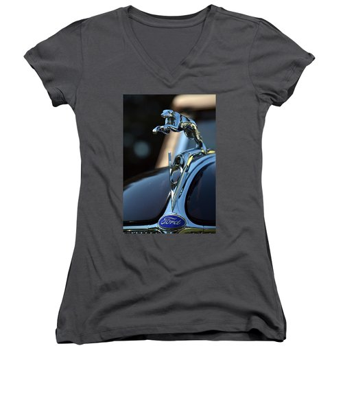 Women's V-Neck T-Shirt (Junior Cut) featuring the photograph Ford V-8 Hood Ornemant by Dean Ferreira