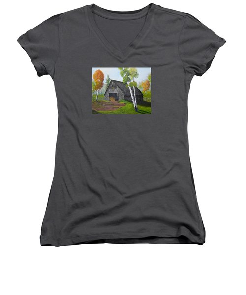 Women's V-Neck T-Shirt (Junior Cut) featuring the painting Forest Barn by Sheri Keith