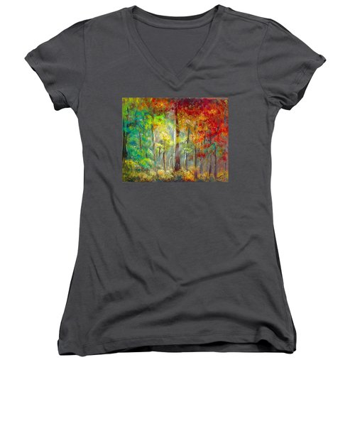 Forest Women's V-Neck T-Shirt (Junior Cut) by Bozena Zajaczkowska