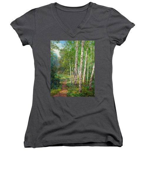 Russian Forest Footpath Women's V-Neck (Athletic Fit)