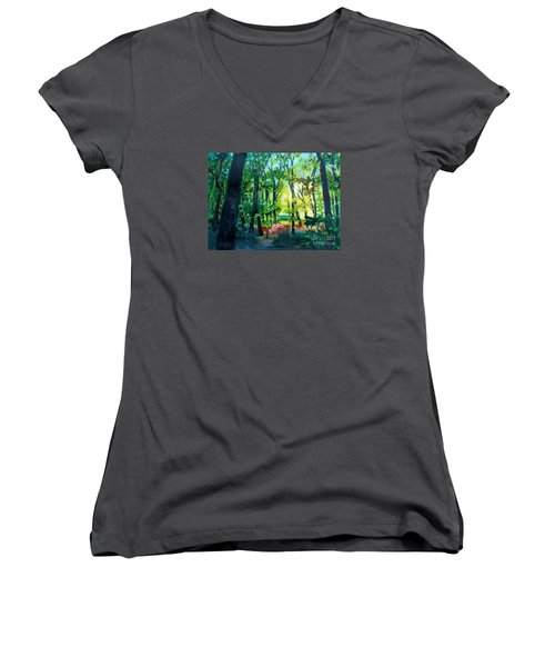 Women's V-Neck T-Shirt (Junior Cut) featuring the painting Forest Scene 1 by Kathy Braud