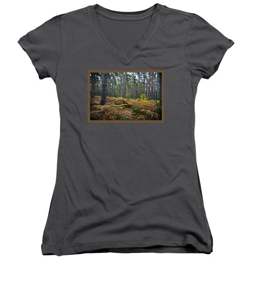 Women's V-Neck T-Shirt (Junior Cut) featuring the photograph Forest Trees by Maj Seda