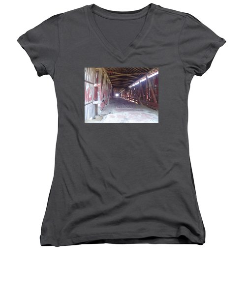 Women's V-Neck T-Shirt (Junior Cut) featuring the photograph Forgotten Tunnel by Fortunate Findings Shirley Dickerson