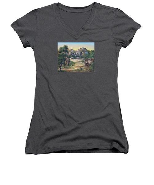 Forgotten Village Women's V-Neck T-Shirt (Junior Cut) by Remegio Onia