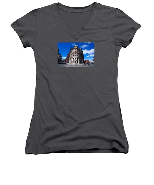 Women's V-Neck T-Shirt (Junior Cut) featuring the photograph Fork Albany N Y by John Schneider