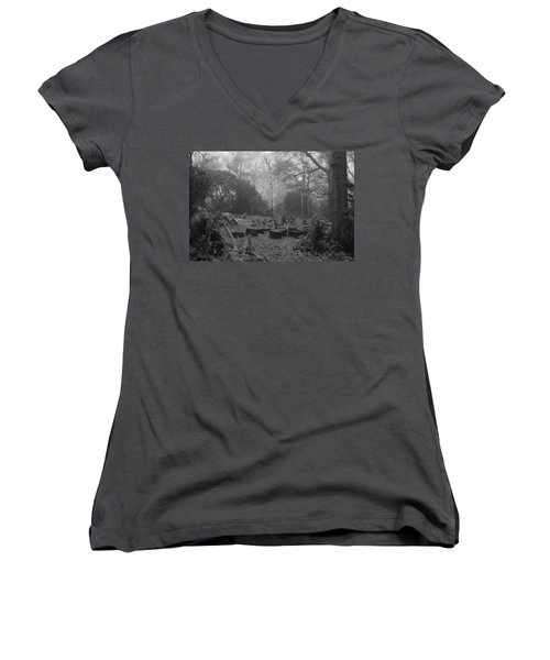 Women's V-Neck T-Shirt (Junior Cut) featuring the photograph Forset Trees by Maj Seda