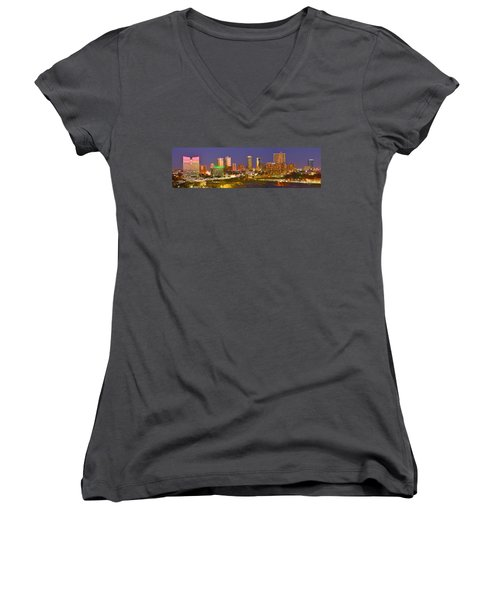 Women's V-Neck T-Shirt (Junior Cut) featuring the photograph Fort Worth Skyline At Night Color Evening Panorama Ft. Worth Texas by Jon Holiday