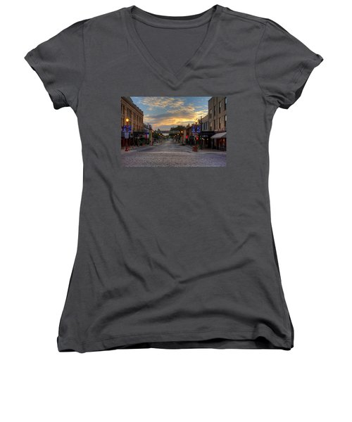 Fort Worth Stockyards Sunrise Women's V-Neck (Athletic Fit)