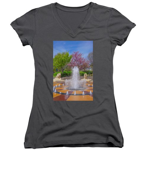 Fountain In Coolidge Park Women's V-Neck