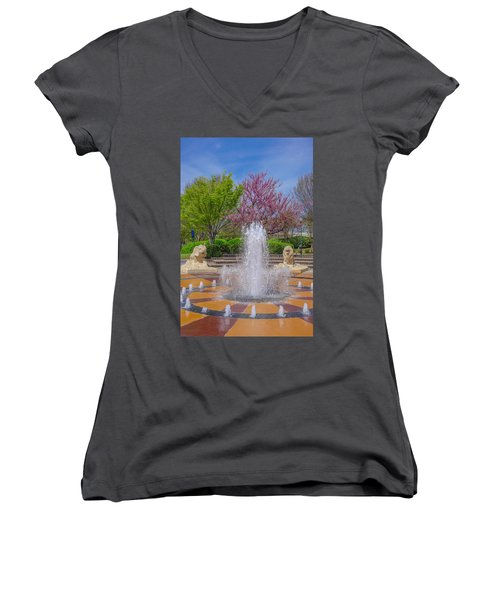 Fountain In Coolidge Park Women's V-Neck (Athletic Fit)