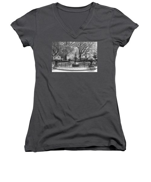 Fountain Time Women's V-Neck T-Shirt (Junior Cut) by Catie Canetti