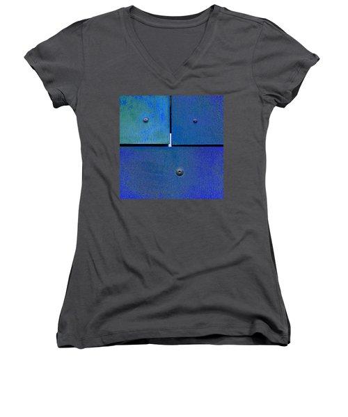 Four Five Six - Colorful Rust - Blue Women's V-Neck T-Shirt (Junior Cut) by Menega Sabidussi