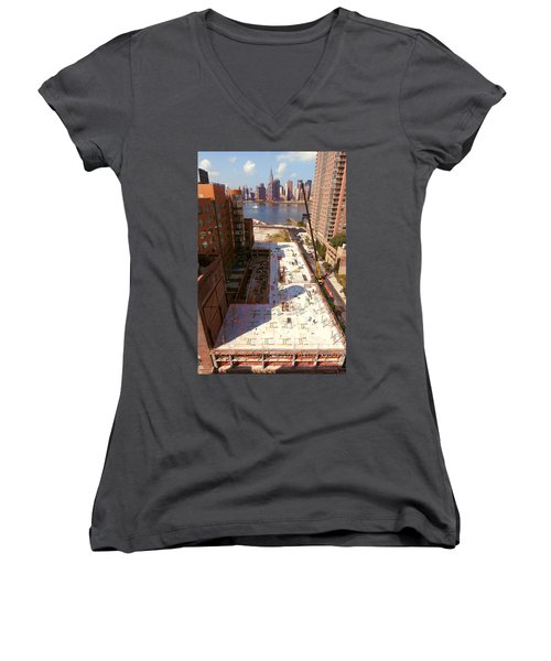 Fourth Floor Slab Women's V-Neck T-Shirt (Junior Cut) by Steve Sahm
