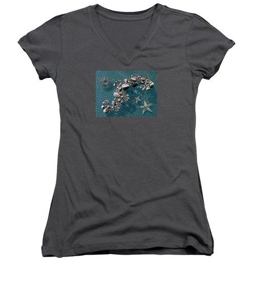 Fractal Sea Life Women's V-Neck T-Shirt