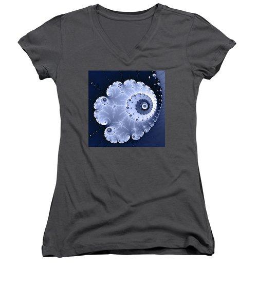 Fractal Spiral Light And Dark Blue Colors Women's V-Neck T-Shirt (Junior Cut) by Matthias Hauser