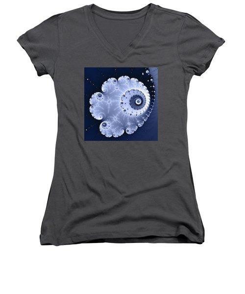 Fractal Spiral Light And Dark Blue Colors Women's V-Neck