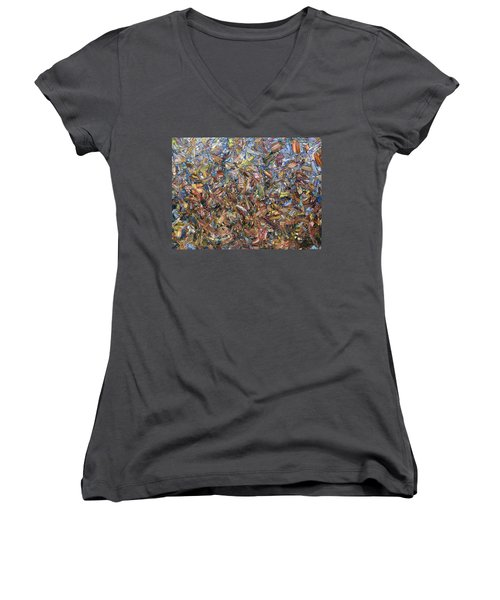 Women's V-Neck T-Shirt (Junior Cut) featuring the painting Fragmented Fall by James W Johnson