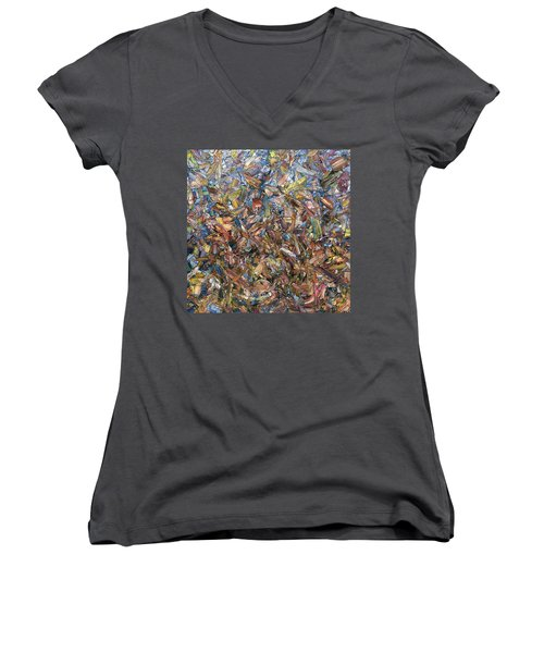 Women's V-Neck T-Shirt (Junior Cut) featuring the painting Fragmented Fall - Square by James W Johnson