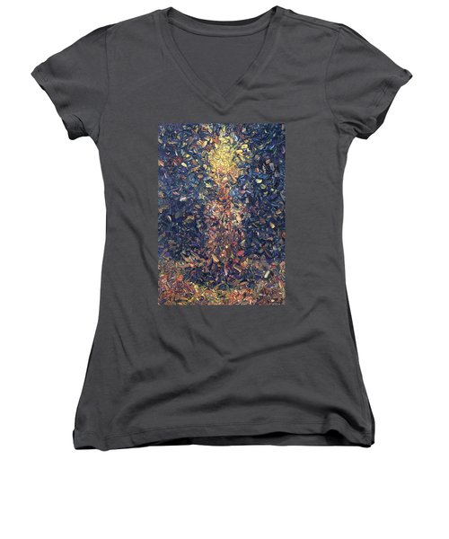 Women's V-Neck T-Shirt (Junior Cut) featuring the painting Fragmented Flame by James W Johnson