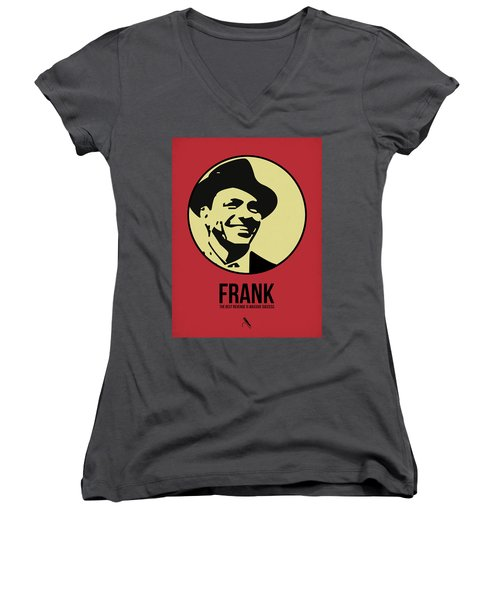 Frank Poster 2 Women's V-Neck T-Shirt (Junior Cut) by Naxart Studio