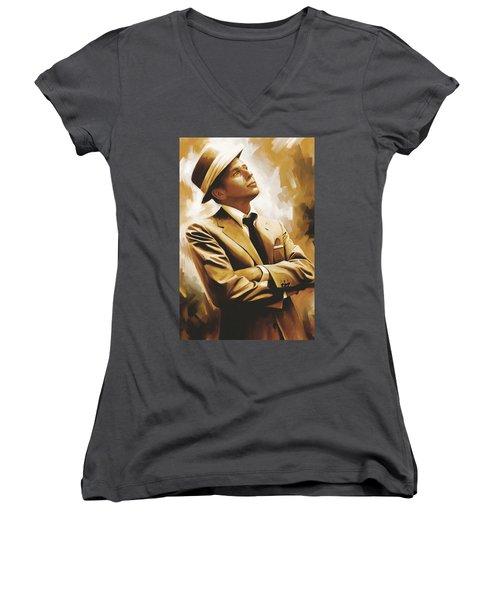 Frank Sinatra Artwork 1 Women's V-Neck T-Shirt (Junior Cut)