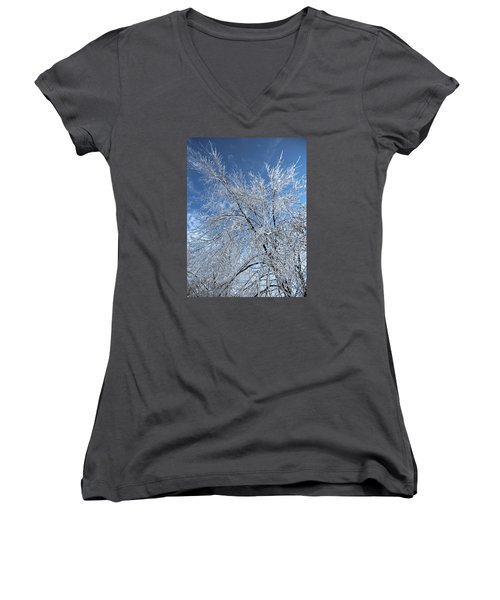 Women's V-Neck T-Shirt (Junior Cut) featuring the photograph Freezing Rain ... by Juergen Weiss
