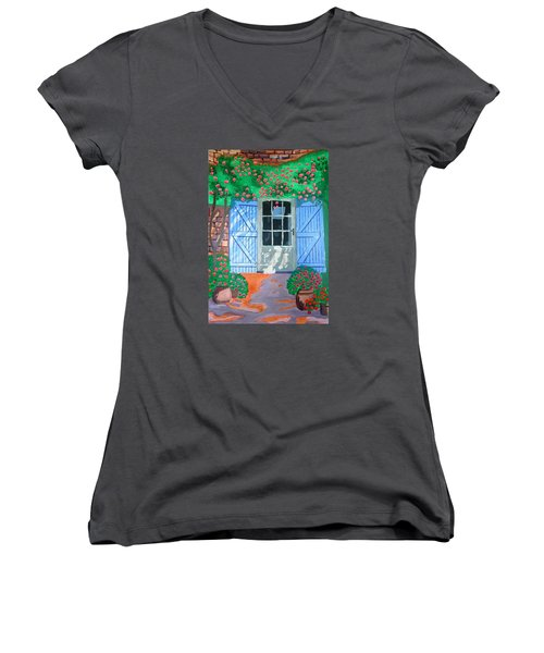 Women's V-Neck T-Shirt (Junior Cut) featuring the painting French Farm Yard by Magdalena Frohnsdorff