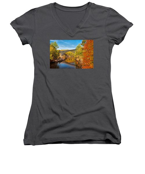 French King Bridge In Autumn Women's V-Neck (Athletic Fit)