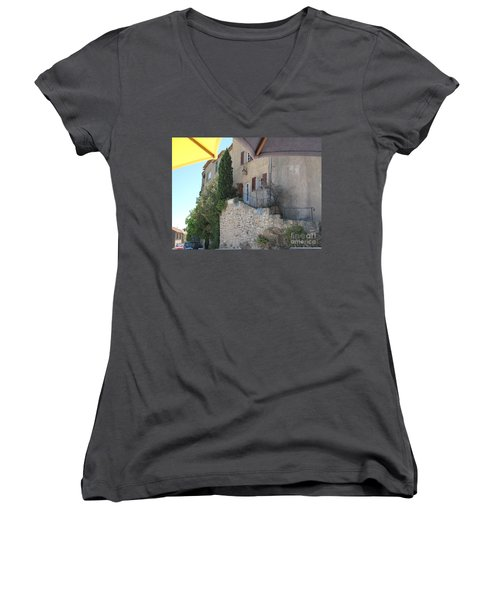 Women's V-Neck T-Shirt (Junior Cut) featuring the photograph French Riviera - Ramatuelle by HEVi FineArt