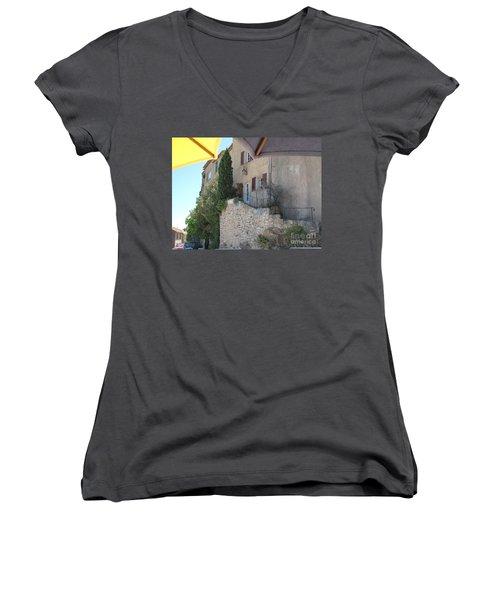 French Riviera - Ramatuelle Women's V-Neck T-Shirt (Junior Cut) by HEVi FineArt