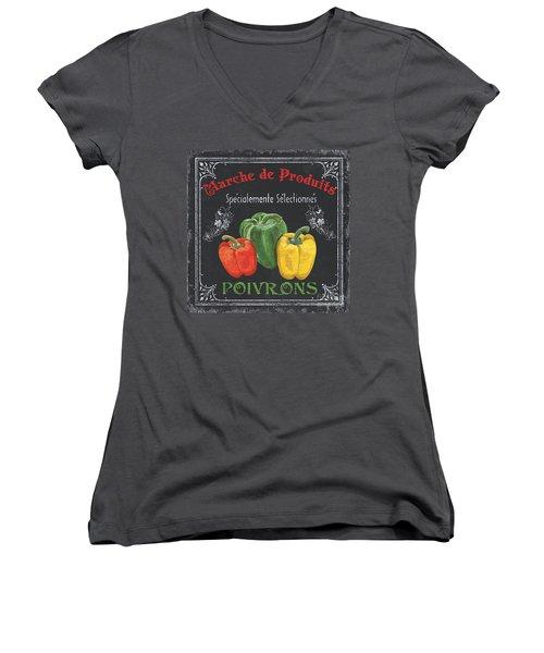 French Vegetables 3 Women's V-Neck T-Shirt (Junior Cut) by Debbie DeWitt