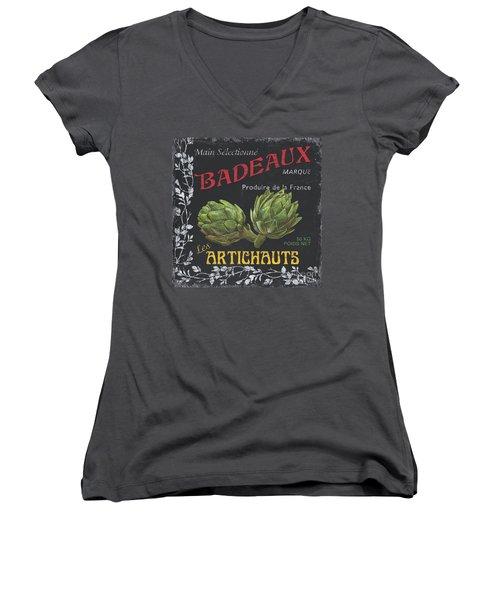 French Veggie Labels 1 Women's V-Neck T-Shirt (Junior Cut) by Debbie DeWitt