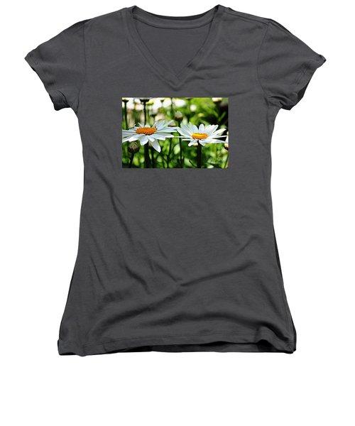 Women's V-Neck T-Shirt (Junior Cut) featuring the photograph Fresh As A Daisy by Judy Palkimas