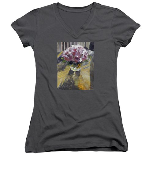 Women's V-Neck T-Shirt (Junior Cut) featuring the painting Fresh by Pattie Wall