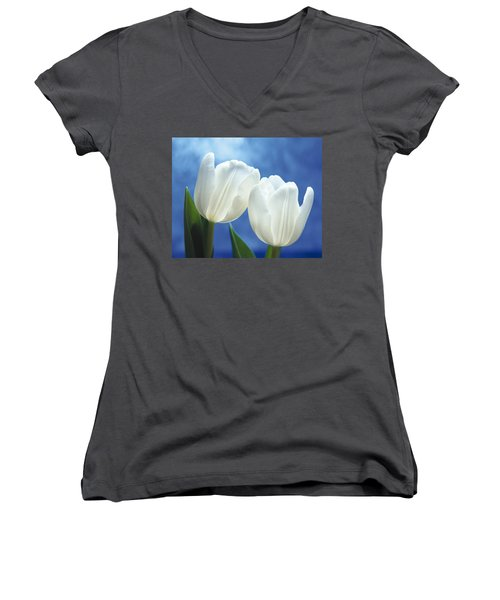 Women's V-Neck T-Shirt (Junior Cut) featuring the photograph Friendship by Lana Enderle