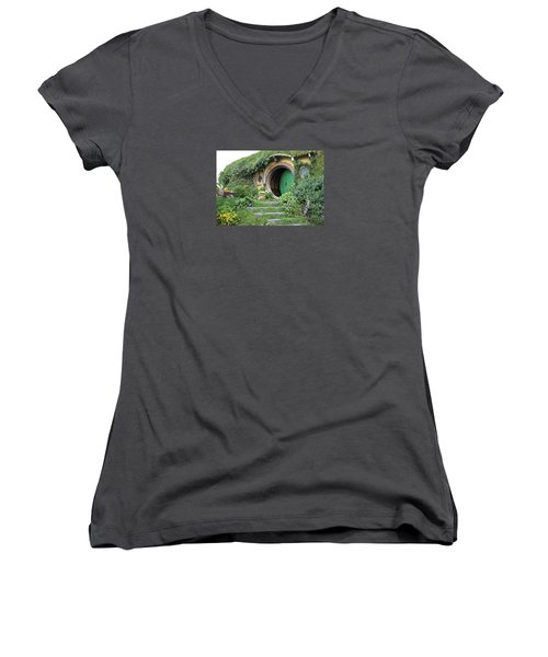 Frodo Baggins Lives Here Women's V-Neck T-Shirt (Junior Cut) by Venetia Featherstone-Witty