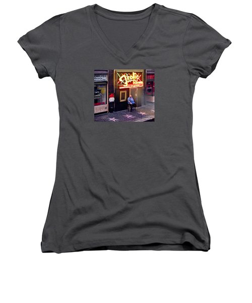 Frolic Room.hollywood Blvd Women's V-Neck T-Shirt (Junior Cut) by Jennie Breeze