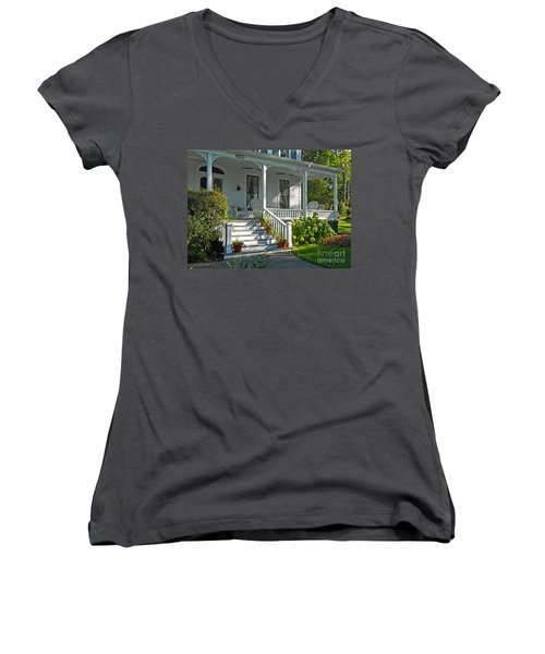 Front Porch In Summer Women's V-Neck T-Shirt (Junior Cut) by Desiree Paquette