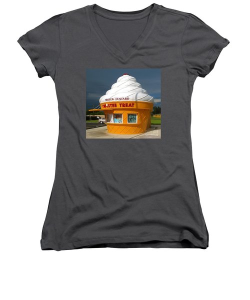 Frozen Custard Before The Storm Building Women's V-Neck (Athletic Fit)