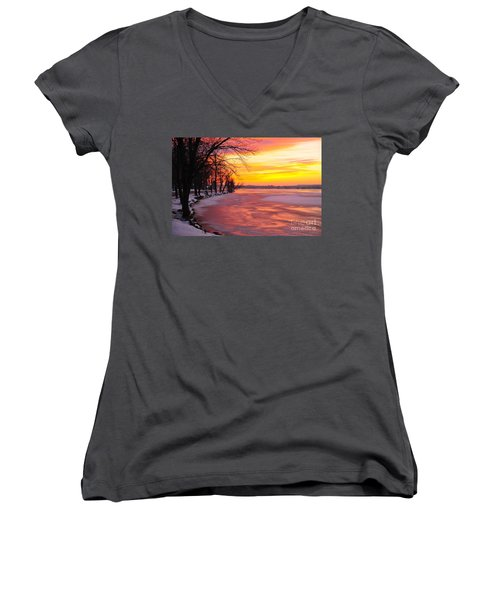 Women's V-Neck T-Shirt (Junior Cut) featuring the photograph Frozen Dawn At Lake Cadillac  by Terri Gostola