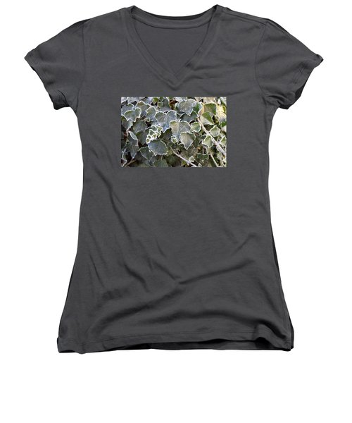 Women's V-Neck T-Shirt (Junior Cut) featuring the painting Frozen Hedera Helix 2 by Felicia Tica