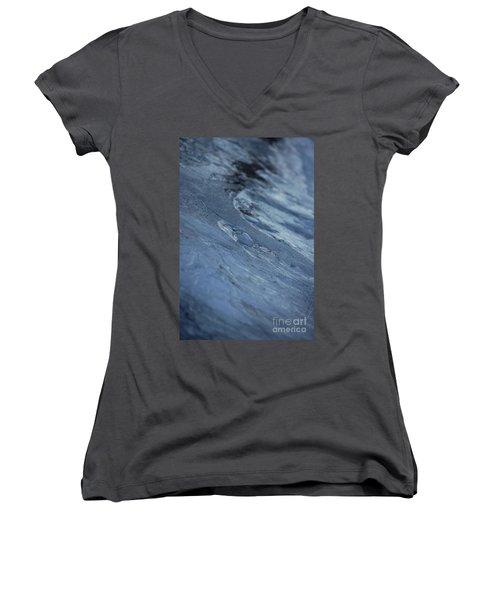 Women's V-Neck T-Shirt (Junior Cut) featuring the photograph Frozen Wave by First Star Art