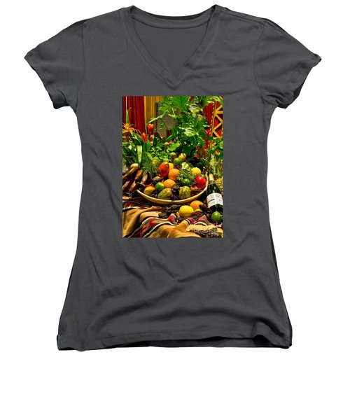 Women's V-Neck featuring the photograph Fruit And Wine by Mae Wertz