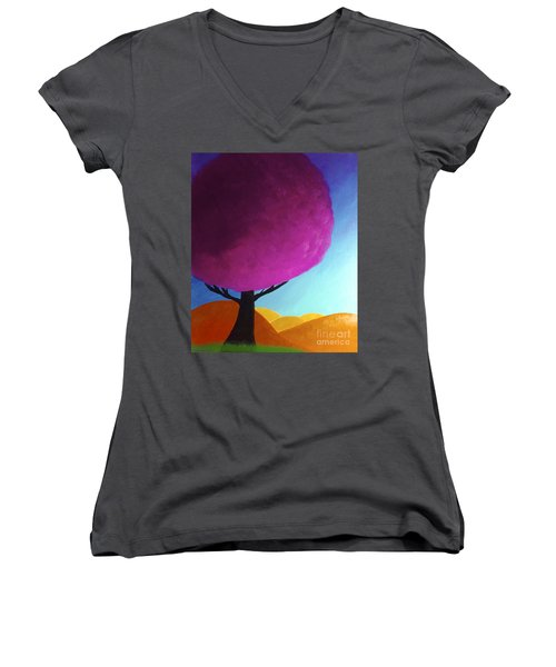 Women's V-Neck T-Shirt (Junior Cut) featuring the painting Fuchsia Tree by Anita Lewis