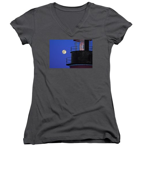 Women's V-Neck T-Shirt (Junior Cut) featuring the photograph Full Moon And West Quoddy Head Lighthouse Beacon by Marty Saccone