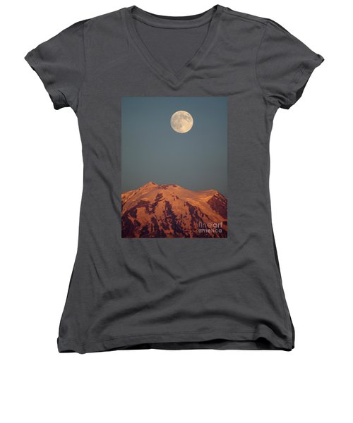Full Moon Over Mount Rainier Women's V-Neck T-Shirt