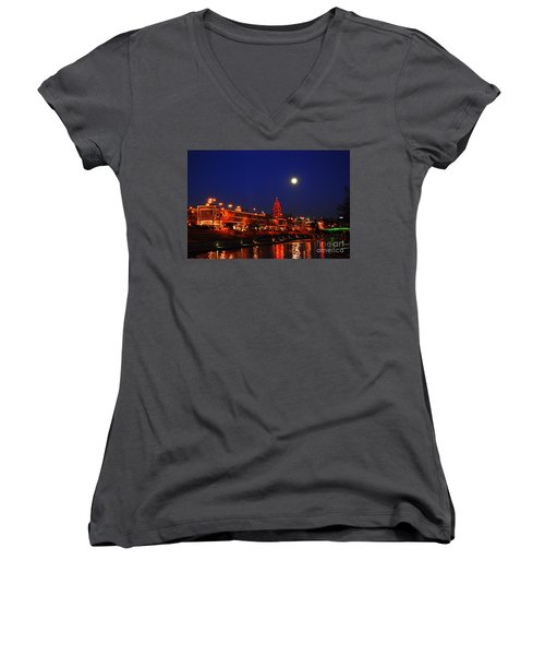 Full Moon Over Plaza Lights In Kansas City Women's V-Neck T-Shirt (Junior Cut) by Catherine Sherman