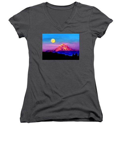 Full Moon Rising Over Mount Hood Oregon Women's V-Neck