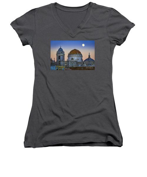 Full Moon Rising Over The Cathedral Cadiz Spain Women's V-Neck (Athletic Fit)